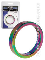 Cockring 10 mm High Polished Rainbow - Push Steel