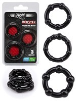 Push Monster - Triple Set Black Cockrings